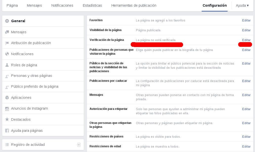 Cómo verificar la página de Facebook Ejemplo 1