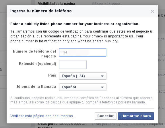 Cómo verificar la página de Facebook Ejemplo 2