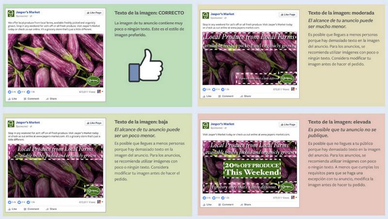 Excepciones de texto en las imágenes de anuncios en Facebook