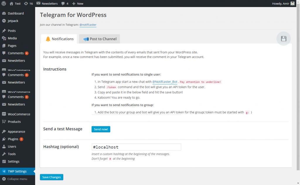 Telegram for WordPress. Plugin de Telegram en WordPress